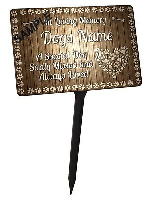 Personalised Dog Memorial Plaque & Stake. Waterproof, for garden grave etc