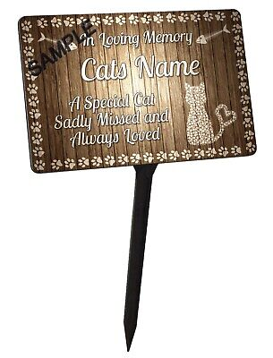 Personalised Cat Memorial Plaque & Stake. 100% Waterproof, UV Protection.
