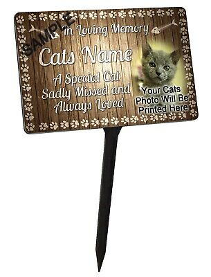 Your Photo Personalised Cat Memorial Plaque & Stake. Waterproof, UV Protection.