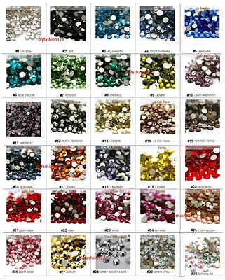 SS12 1440 pc Glass Rhinestones High Quality Flat Back Sparkle Nail Art 30 color