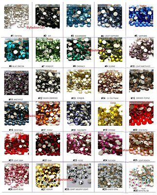 SS20 1440 pc Glass Rhinestones High Quality Flat Back Sparkle Nail Art 30 color