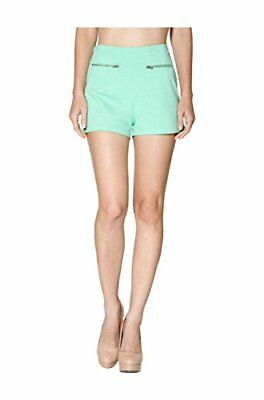 2LUV Women's High Waisted Ponte Shorts W/ Zipper Trim Mint L, New
