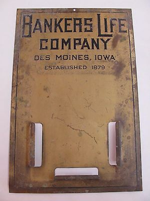 """Vintage 18"""" by 11"""" BANKERS LIFE Company Sign DES MOINES Iowa IA Insurance Brass?"""
