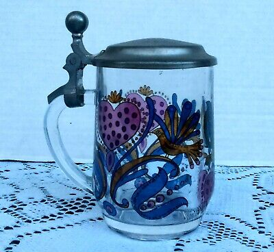 Collectible Heavy Glass Vintage Stein Mug Signed France 1960's 1970's