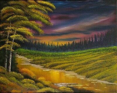 """""""River Of Gold"""" - Original Oil On Canvas - Western Canadian Artist Signed"""