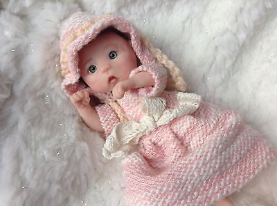 "OOAK baby jointed 5"" reborn doll ""Ava"" handsculpted miniature clay Artist Sheryl"