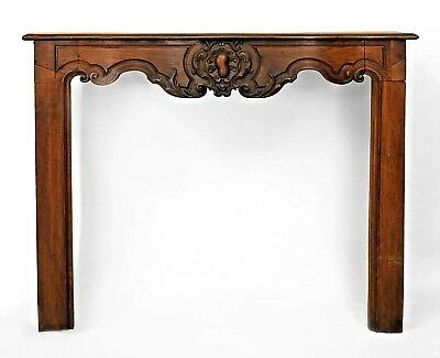 French Provincial Walnut Fireplace Mantle