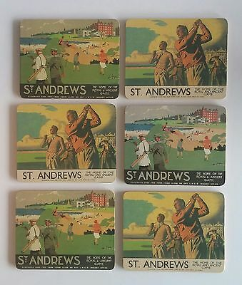 Set of 6 Vintage St. Andrews - The Home Of The Royal And Ancient Game coasters