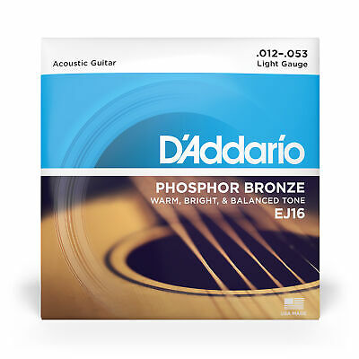 D'Addario EJ16 Phosphor Bronze Light Acoustic Guitar Strings (12-53)