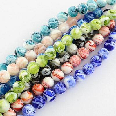 100PCS Handmade Lampwork Beads Round Mixed Color 14mm DIY Necklace Making