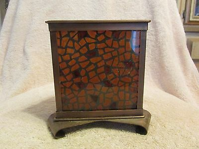 Vintage Mosaic Stained Glass 3 Sided Decorative Candle Holder/vase Browns