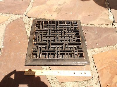 Antique Cast Iron Heat Grate Vent Register Vintage 10 X 10 OPENING ART DECO