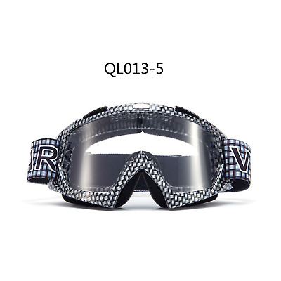 Carbon motocross motorbike goggles anti-fog UV clear lens MX dirt PIT trail bike
