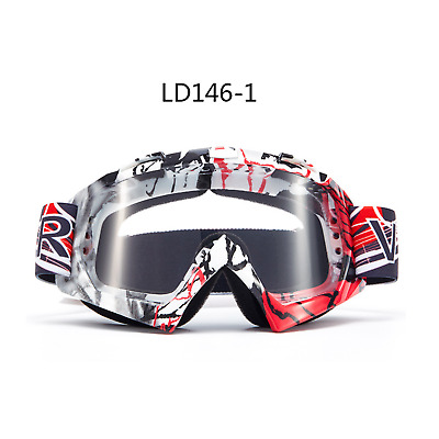 RED motocross motorbike goggles anti-fog UV clear lens MX dirt PIT trail bike