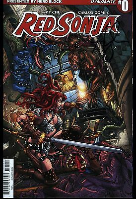 Red Sonja #0 Nerd Block Variant Signed Amy Chu Dynamite Entertainment NM+
