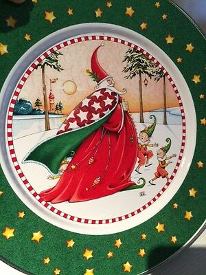 """4 NEW Mary Engelbreit Magic Of Christmas Enamelware Holiday Charger Plates 12.5"""""""
