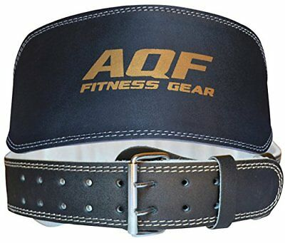 """AQF Weight Lifting 6"""" Leather Belt Back Support Strap Gym Power Training"""