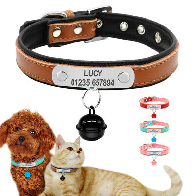 Dog Collar Personalized Soft Padded Leather Custom Pet Cat Puppy ID Name & Bell