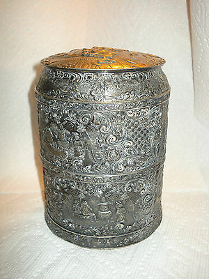 Silver Plated Ginger Box With Parlor Scenes Barbour S P Co International
