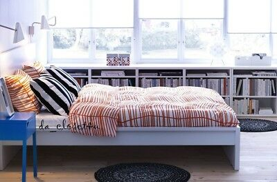 IKEA ODESTRAD Duvet Quilt Cover set 120TC White ORANGE Twin Full Double Queen