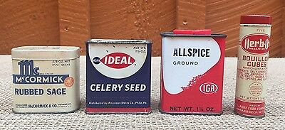 Lot of 4 vintage spice tins - McCormick, Acme Ideal, IGA, Herb-Ox -FREE SHIPPING