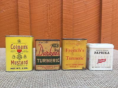 Lot of 4 Vintage Spice Tins - Durkee's, French's, Colmans