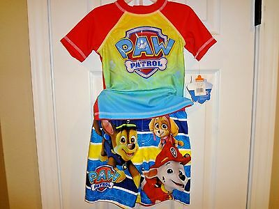 Paw Patrol Toddler's Boy Swim Trunks Rashguard Shirt 2pc Rocky Marshall 3T 4T 5T