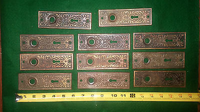 11 vintage antique fancy Victorian Design eastlake door plates