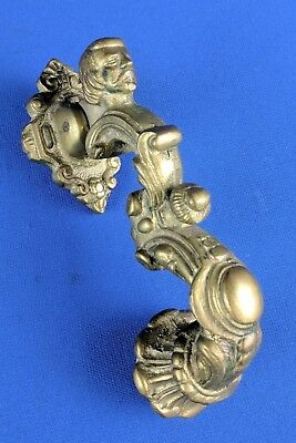 Figural Face  Door Knocker Heavy Solid Cast Brass Architectural Hardware VTG