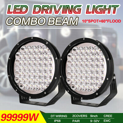 9inch 99999W Black Round Cree LED Driving Work Lights COMBO BEAM Offroad HID SUV