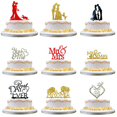 Romantic Gold Silver Shiny Cake Topper Wedding Party Top Letter Decor