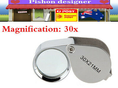 Pocket Jewellers Eye Loupe Magnifier Folding Magnifying Glass Jewelers 30x 21mm