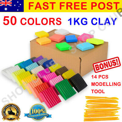 50PCS DIY Craft Malleable Fimo Polymer Modelling Soft Clay Block Set With Tool
