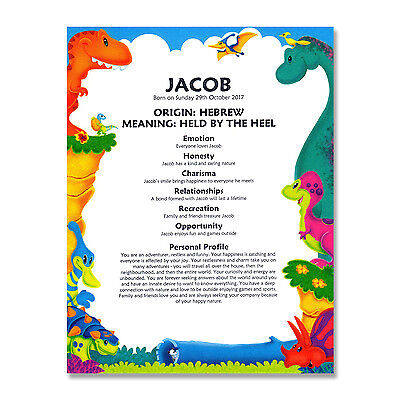 FIRST NAME MEANING PRINT Personalised Gift Baby Birthday Christening Dinosaurs