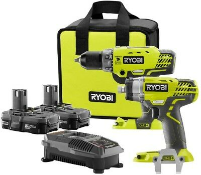 Ryobi Hammer Drill Impact Driver Kit LED Light 18-Volt Lithium-Ion Bag Included