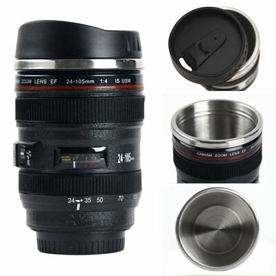 Camera Lens Cup 400ml  Coffee Travel Mug Thermos Stainless Steel& Leak-Proof Lid