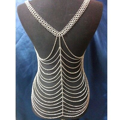Silver Tone Showgirl Body Bra Chain Bikini Shimmy Belly Dance  Uk Seller