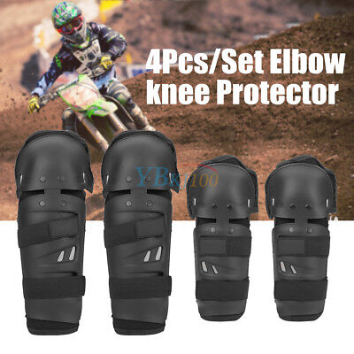 4Pcs Motorcycle Cycling Elbow Knee Pads Protector Shin Guard Armors Set Black