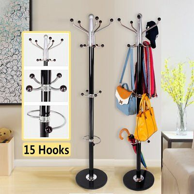 15 Hooks Metal Steel Hat and Coat Clothes Umbrella Hall Stand Rack Stand 1.77m