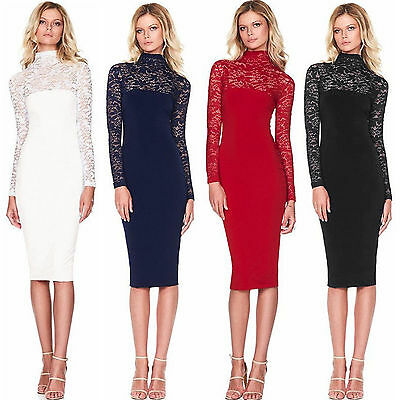 Womens Lace Bodycon Bandage Long Sleeve Evening Party Formal Wedding Midi Dress