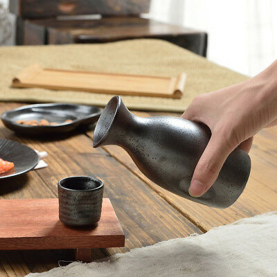 Japanese Matt Black Ceramic Sake Set Wine Bottle Cups Handmade Porcelain Water