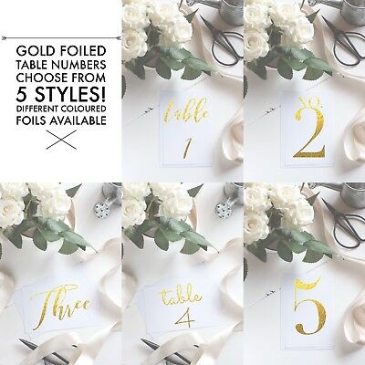 Wedding Event Table Numbers, Gold Foiled, 5 Designs, Custom Designs Available