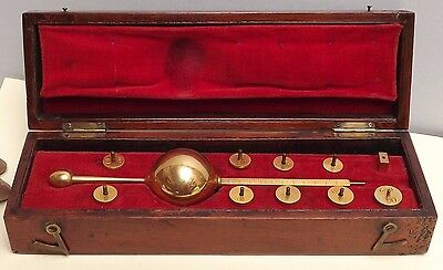 Hydrometer { Sikes Pattern } Dring & Fage [ C1820 ]  Gilt Brass [ Cased ]