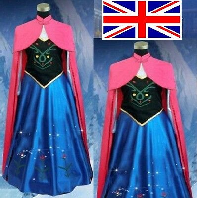 Frozen Anna Style Cosplay Dress cloak Princess party Costume Adult Size NEW UK