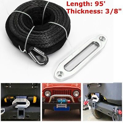 UK 16500LBS Synthetic Winch Rope 3/8''x95' with Stainless Steel Hawse Fairlead