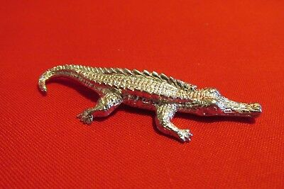 Pewter Alligator  Figurine 2 1/2 Inches Long Nice Detail