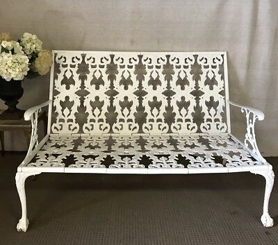 French Style White Metal Outdoor Garden Patio Verandah Bench Seat