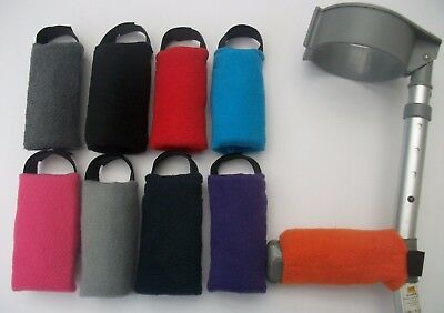 1 x PADDED CRUTCH HANDLE COVER  PAD STRONG VELCRO EASY FIT SOFT FLEECE AND FOAM