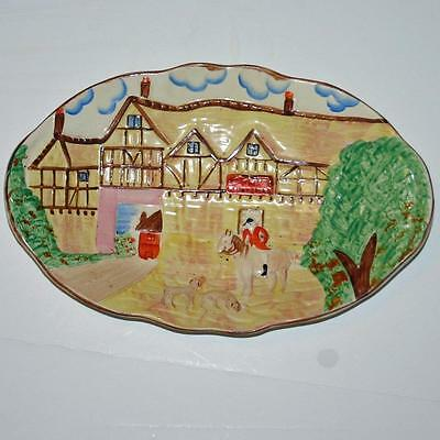 """Hand Painted English Kensington Hunt Platter, 12"""" by 7.5"""""""