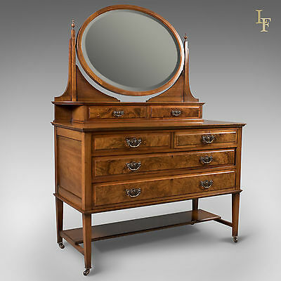 Antique Dressing Table, Edwardian Vanity Chest of Drawers, Mirror, English c1910